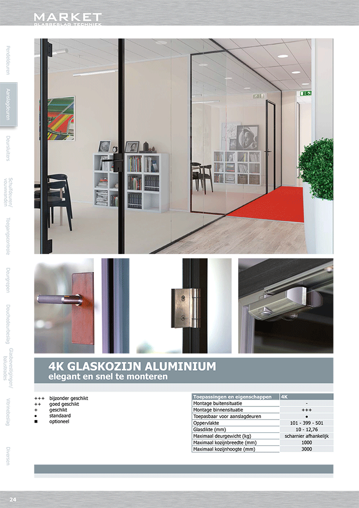 Stylish glass door in aluminum frame, design wherever you want!